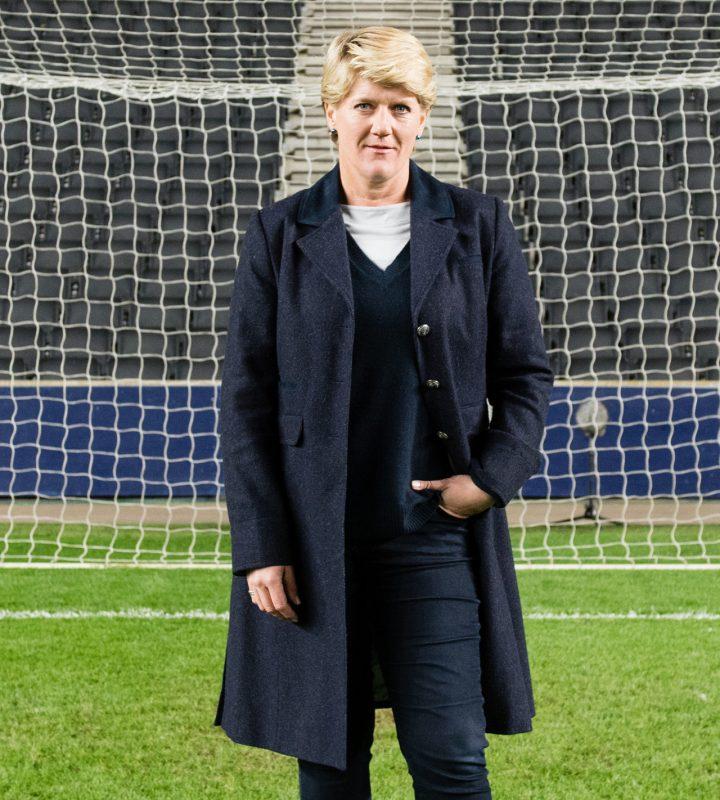 Clare Balding, Milton Keynes stadium.  England v Austria Women's International.  April 10, 2017.  Photo: Eleanor Bentall  Tel: +44 7768 377413